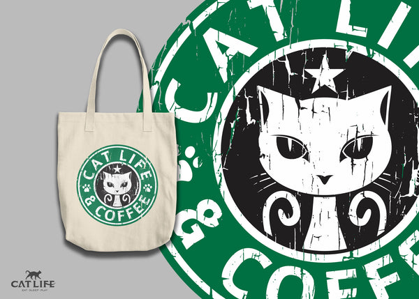 Cat Life and Coffee - Tote Round Bag