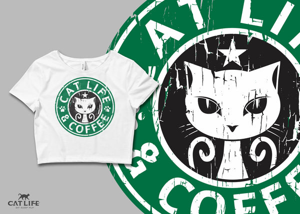 Cat Life and Coffee - Womens Crop T-Shirt