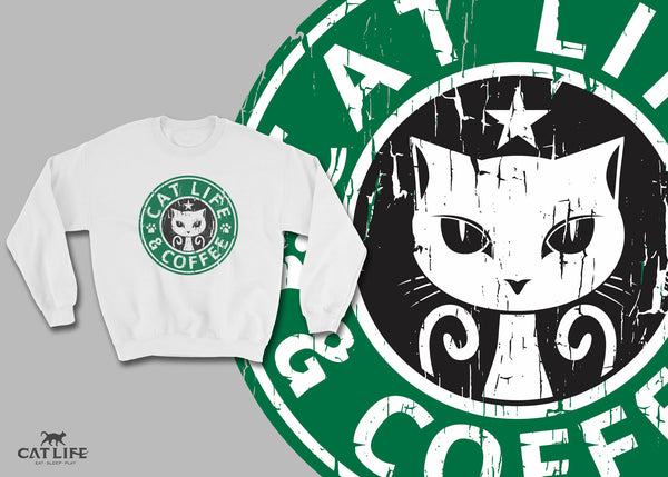 Cat Life and Coffee - Unisex Cotton/Polyester Sweatshirt