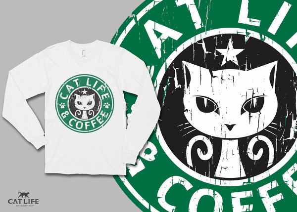 Cat Life and Coffee - Unisex Long Sleeve T-Shirt