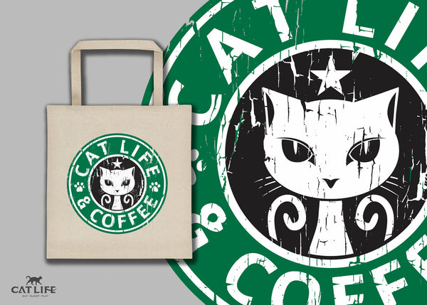 Cat Life and Coffee - Tote Square Bag