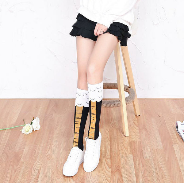 Creative Women Chicken Cluck Legs Knee Socks With Free Shipping