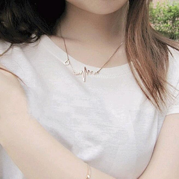 Gold Plated Heart Wave Necklace For Women Vintage Jewelry