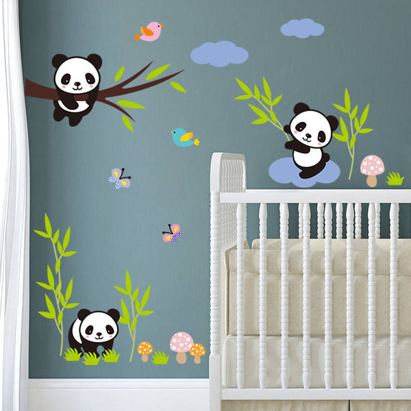Naughty Pandas On Trees Wall Stickers For Kids Room