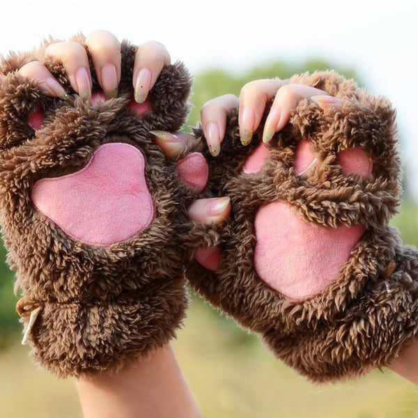 Hot Fluffy Bear/Cat Plush Paw/Claw Glove