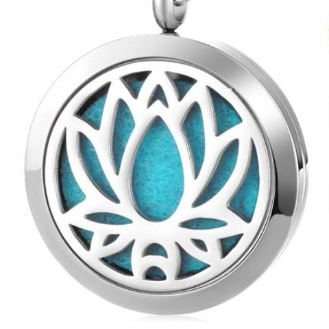 Lotus Flower Oil Diffuser Necklace - Om Air Escapes