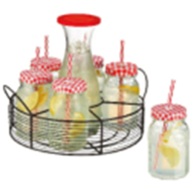 MILK BOTTLE WITH 6 GLASSES AND METAL STAND