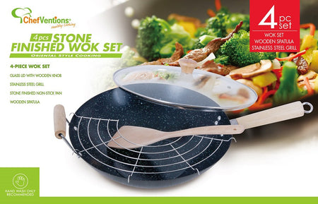 4 PIECE WOK SET WITH MARBLE NON-STICK STONE FINISH
