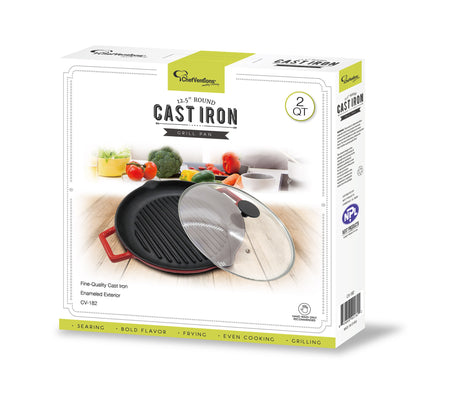 "15"" CAST IRON GRILL PAN WITH GLASS LID"