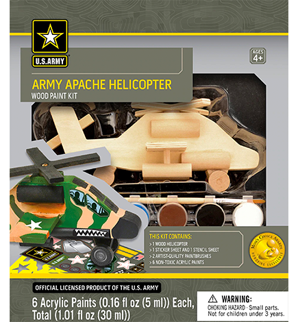 U.S. Army Apache Helicopter Licensed Wood Paint Kit
