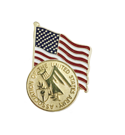 Lapel Pin with American Flag and AUSA Emblem (M107)