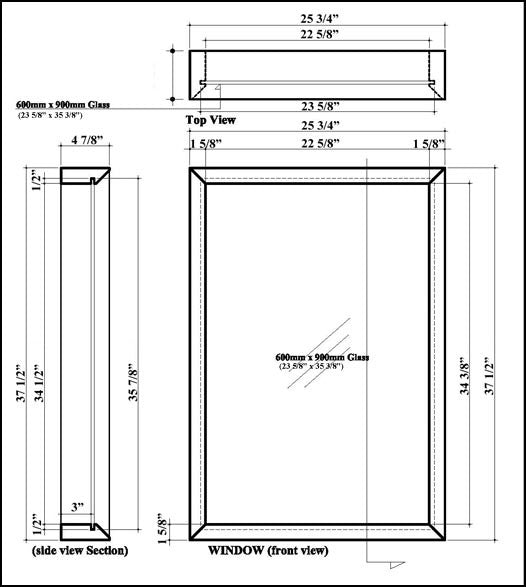 Sauna Window 26 x 38 Specifications