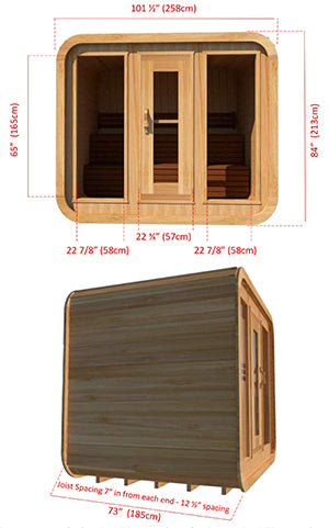 Superior Sauna Luna Outdoor Sauna 8 x 6