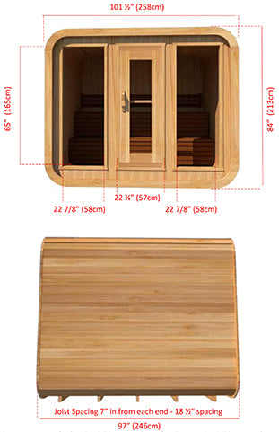 Superior Sauna Luna Outdoor Sauna 8 x 8