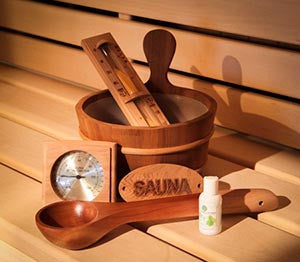 Included Cedar Sauna Accessory Kit