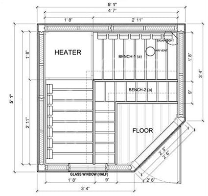 Supeiror Sauna 3 Person Corner Prebuilt Sauna Specifications