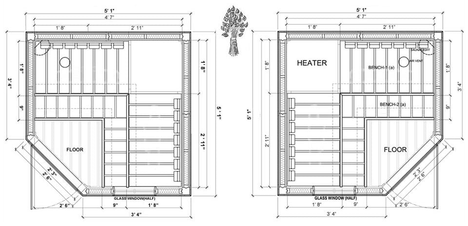 Supeiror Sauna 3 Person Corner Modular Sauna Specifications