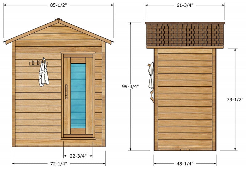 Superior Sauna Outdoor Cabin Sauna 4 x 6 Exterior Specifications