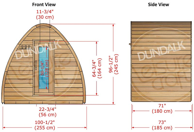 Superior Sauna Pod 8 x 6 Exterior Specifications