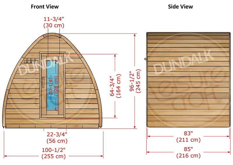 Superior Sauna Pod 8 x 7 Exterior Specifications