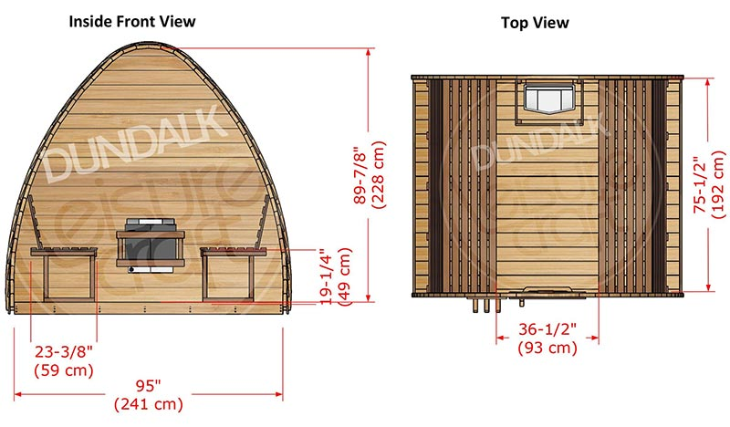 Superior Sauna Pod 8 x 7 Interior Specifications