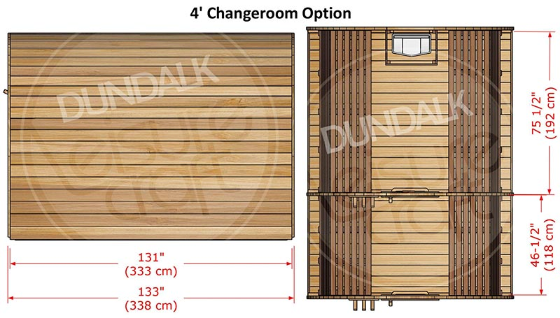 Superior Sauna Pod 8 x 7 with Changeroom Interior Specifications