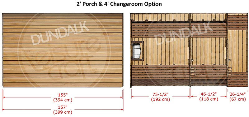 Superior Sauna Pod 8 x 7 with Porch/Changeroom Interior Specifications