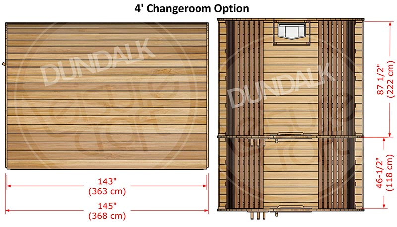 Superior Sauna Pod 8 x 8 with Changeroom Interior Specifications