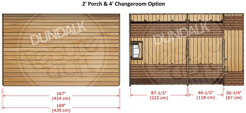 Superior Sauna Pod 8 x 8 with Porch/Changeroom Interior Specifications