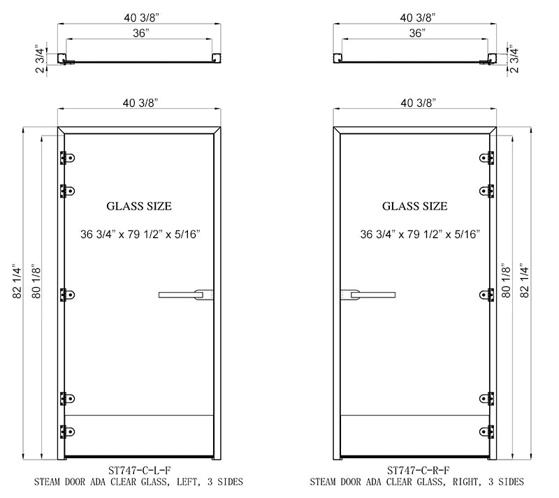 Superior Sauna ADA Steam Door Dimensions