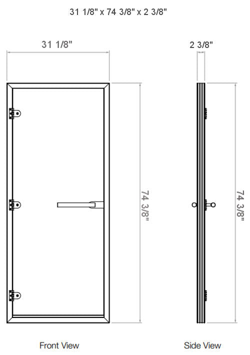 Superior Sauna Frosted Steam Door Dimensions