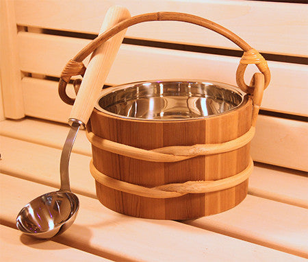 Cedar 1.8 Gallon SS Bucket and Ladle - Superior Saunas
