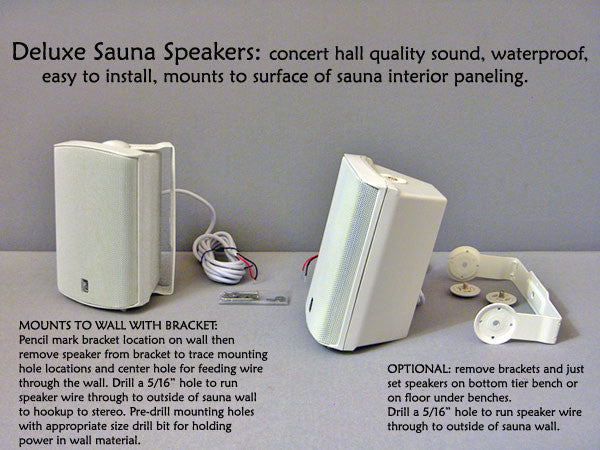 Superior Saunas: Audio - Deluxe Sauna Speakers White