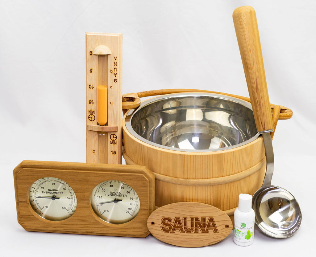Cedar Sauna Accessory Kit Deluxe 6 Piece - Superior Saunas