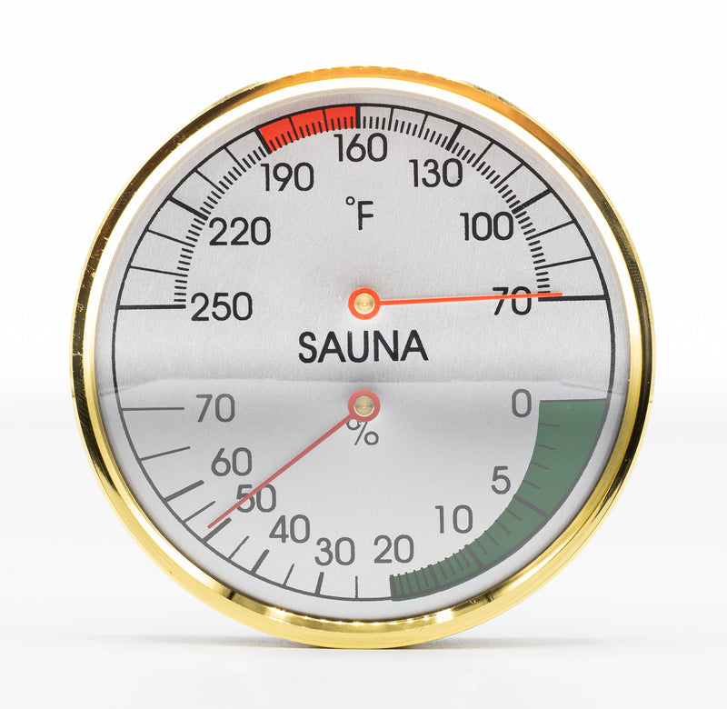 Superior Saunas: Thermometer - Chrome Thermometer and Hygrometer