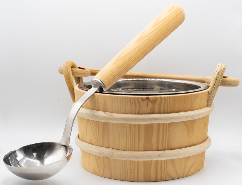 Pine 1 Gallon Stainless Bucket and Ladle - Superior Saunas