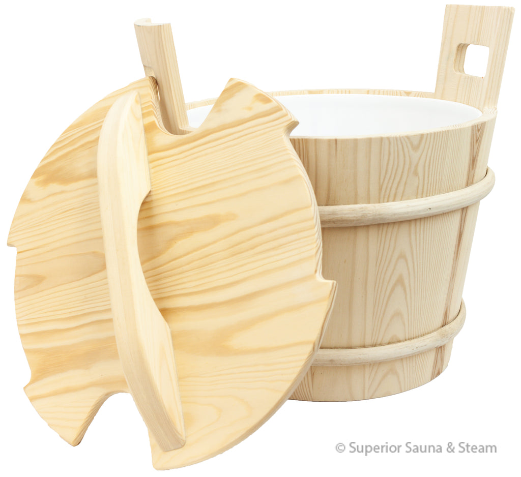 Pine Bucket 4.75 Gallon with Optional Lid - Superior Saunas