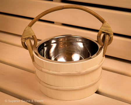 Superior Saunas: Sauna Bucket - Aspen Bucket Stainless Steel 1.8 Gallon
