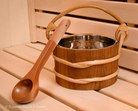 Superior Saunas: Accessory Combo Kit - Cedar 1 Gallon Stainless Bucket and Ladle