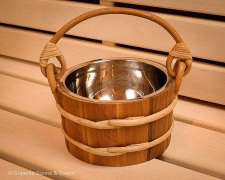 Superior Saunas: Sauna Bucket - Red Cedar Bucket Stainless Steel 1.8 Gallon