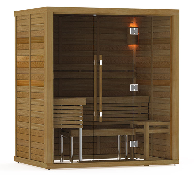 Superior Saunas: Modular Sauna - Red Cedar 3-4 Person Glass Front