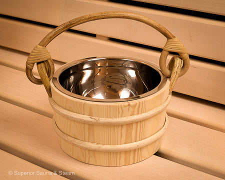 Superior Saunas: Sauna Bucket - Pine Bucket Stainless Steel 1.8 Gallon