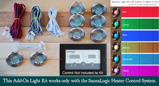 Superior Saunas: Sauna Lighting - Spectra Recessed Sauna Lighting Kit for SaunaLogic Controls
