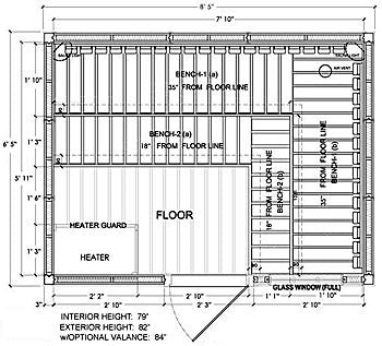Nordic spruce 8 person superior saunas for Sauna layouts floor plans