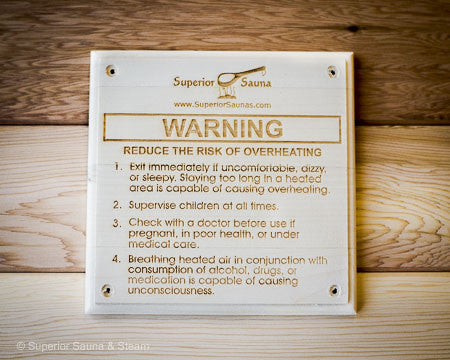 Superior Saunas: Sign - Wooden Risk of Overheating Sign Aspen