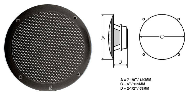 "Superior Saunas: Audio - Round 6"" Sauna Speakers Black"