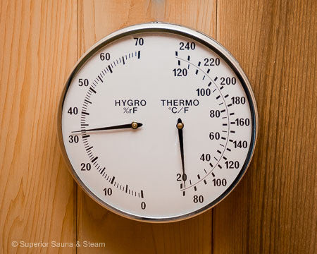 Superior Saunas: Thermometer - Metal Trim Thermometer and Hygrometer