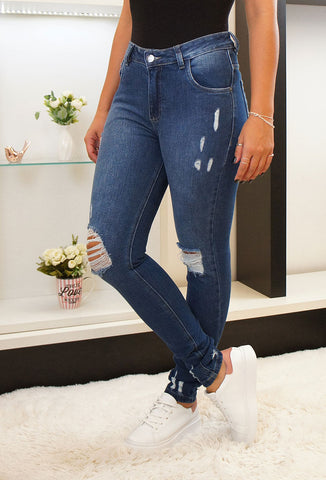 Calça Jeans Escura Skinny Destroyed Revanche - REVANCHE - VintedoisK