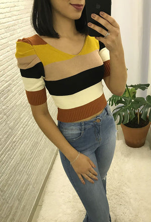 Cropped Modal Color Amarelo/Bege