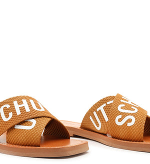 Flat Slide Tiras Fita Schutz Brown